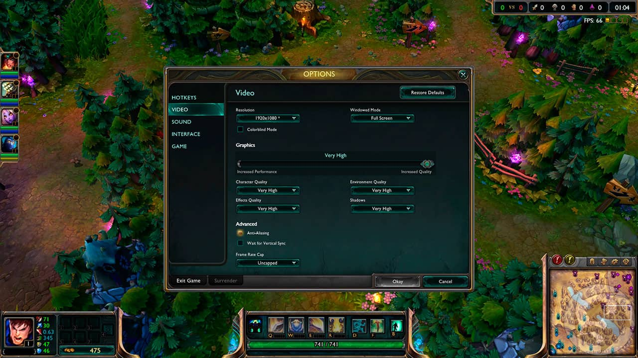 League of Legends graphic settings