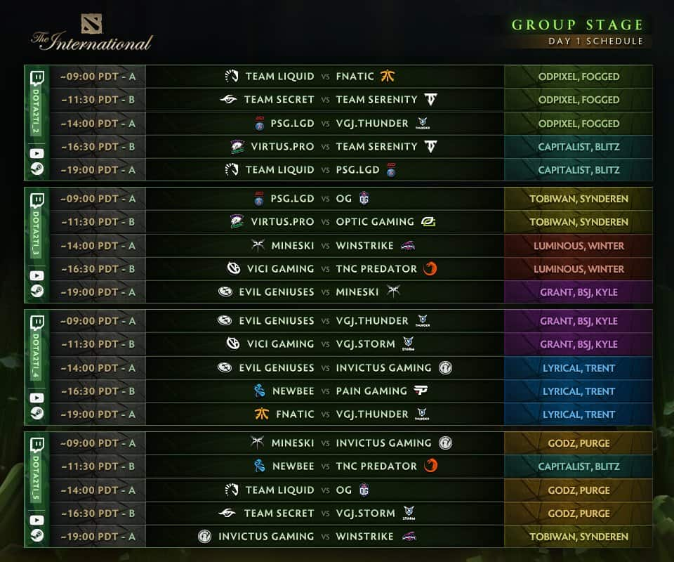 TI8 group stage day 1 schedule