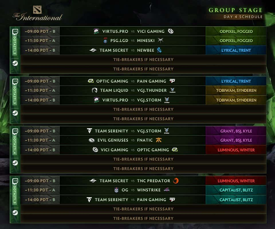 TI8 Group Stage Day 4 Schedule